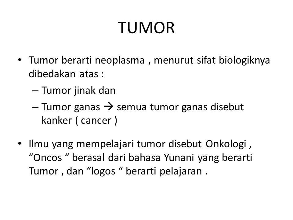 TUMOR Tumor berarti neoplasma , menurut sifat biologiknya dibedakan atas : Tumor jinak dan.