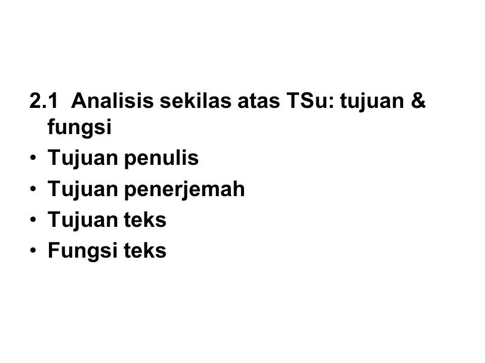 2.1 Analisis sekilas atas TSu: tujuan & fungsi