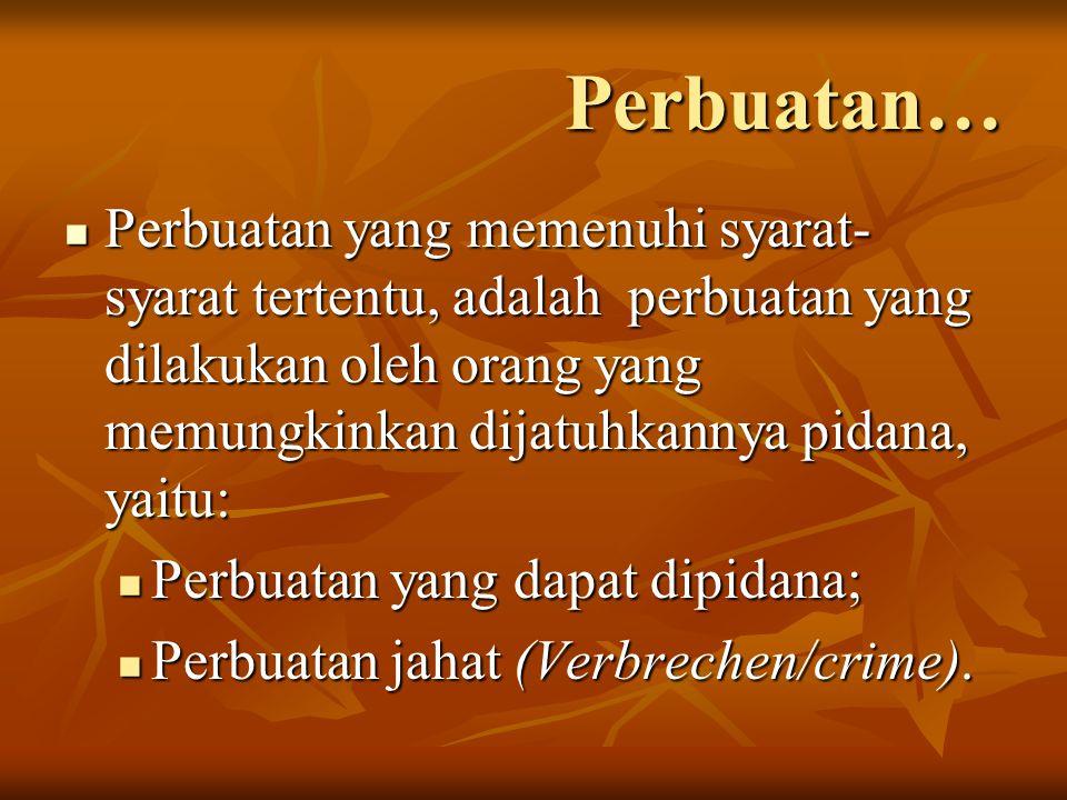 Perbuatan… Perbuatan yang memenuhi syarat-syarat tertentu, adalah perbuatan yang dilakukan oleh orang yang memungkinkan dijatuhkannya pidana, yaitu:
