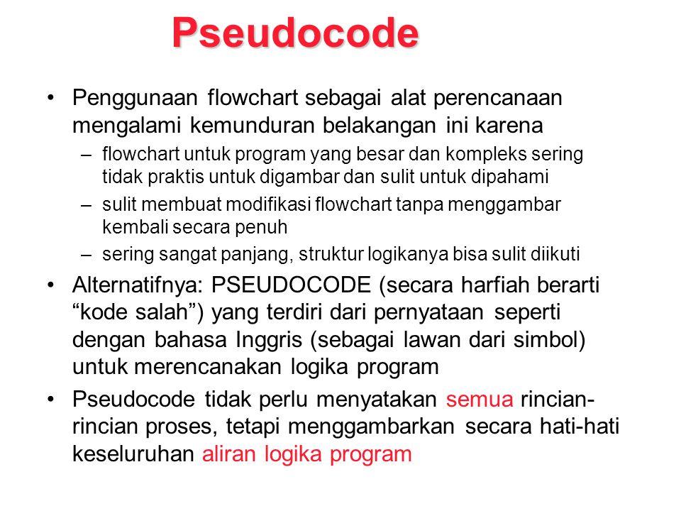Pseudocode Penggunaan flowchart sebagai alat perencanaan mengalami kemunduran belakangan ini karena.