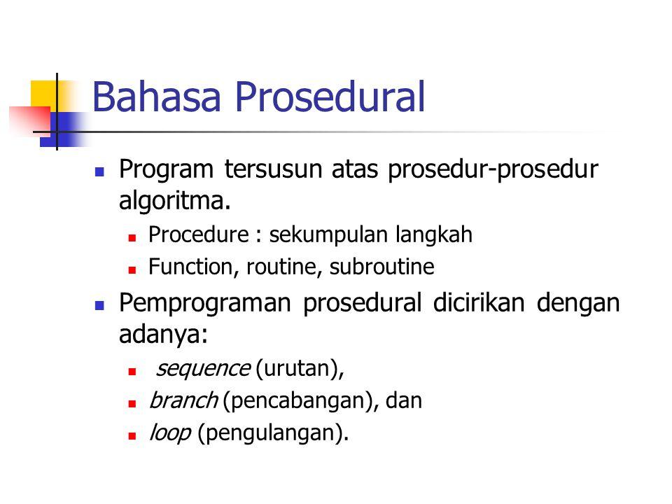 Bahasa Prosedural Program tersusun atas prosedur-prosedur algoritma.