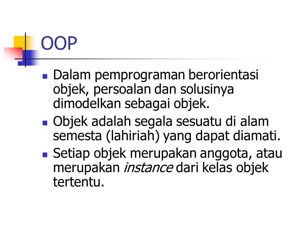 OOP Dalam pemprograman berorientasi objek, persoalan dan solusinya dimodelkan sebagai objek.