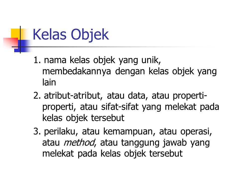 Kelas Objek 1. nama kelas objek yang unik, membedakannya dengan kelas objek yang lain.