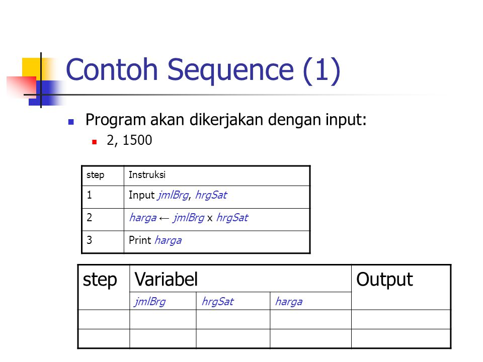 Contoh Sequence (1) step Variabel Output