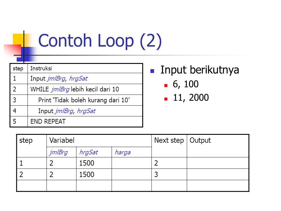 Contoh Loop (2) Input berikutnya 6, 100 11, 2000 step Variabel
