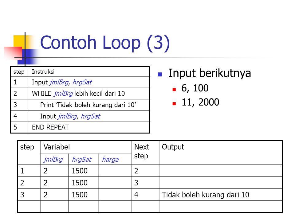 Contoh Loop (3) Input berikutnya 6, 100 11, 2000 step Variabel