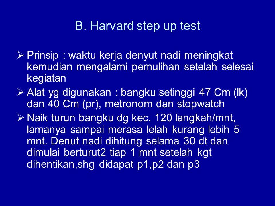 B. Harvard step up test Prinsip : waktu kerja denyut nadi meningkat kemudian mengalami pemulihan setelah selesai kegiatan.