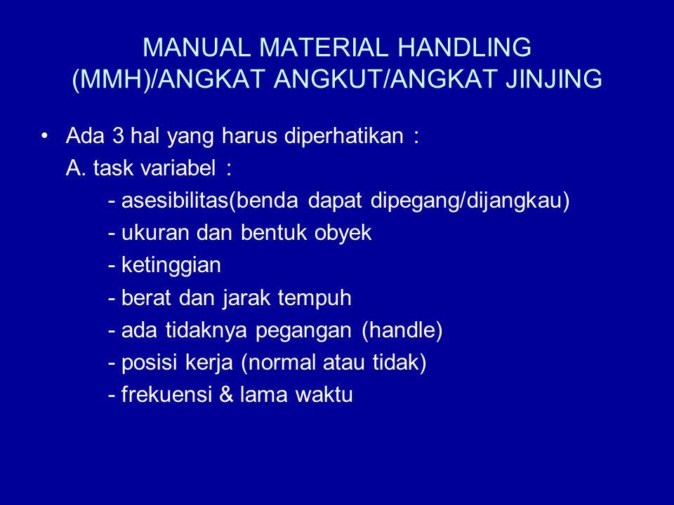 MANUAL MATERIAL HANDLING (MMH)/ANGKAT ANGKUT/ANGKAT JINJING