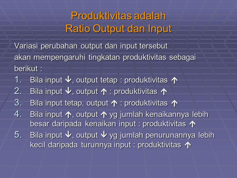 Produktivitas adalah Ratio Output dan Input