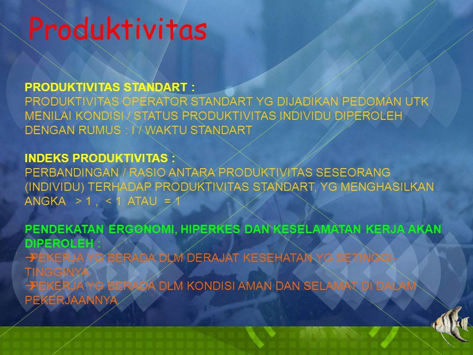 Produktivitas PRODUKTIVITAS STANDART :