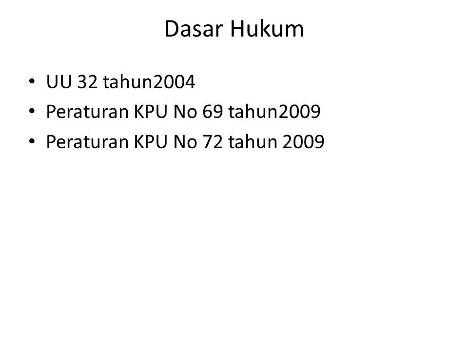 Dasar Hukum UU 32 tahun2004 Peraturan KPU No 69 tahun2009