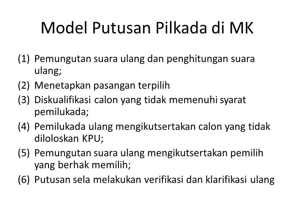 Model Putusan Pilkada di MK