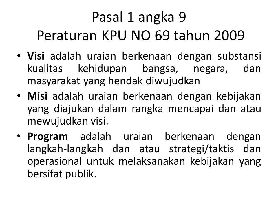 Pasal 1 angka 9 Peraturan KPU NO 69 tahun 2009