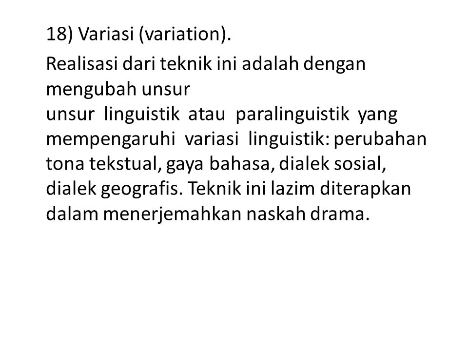 18) Variasi (variation).