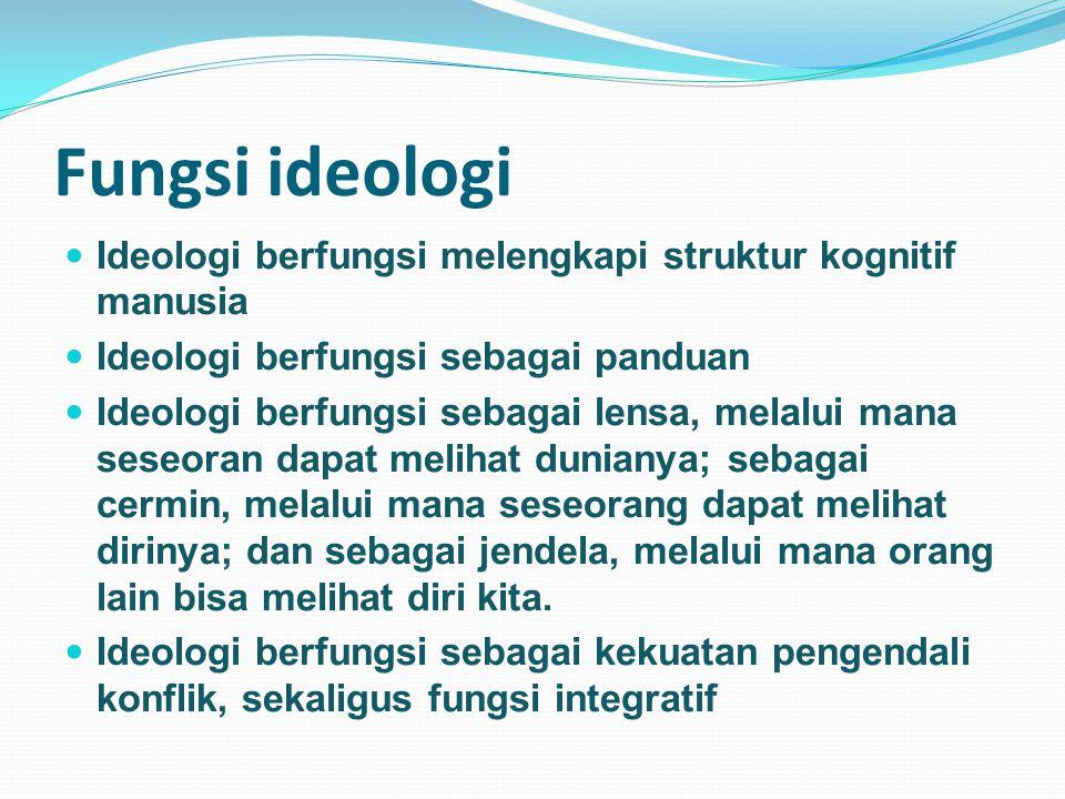 Fungsi ideologi Ideologi berfungsi melengkapi struktur kognitif manusia. Ideologi berfungsi sebagai panduan.