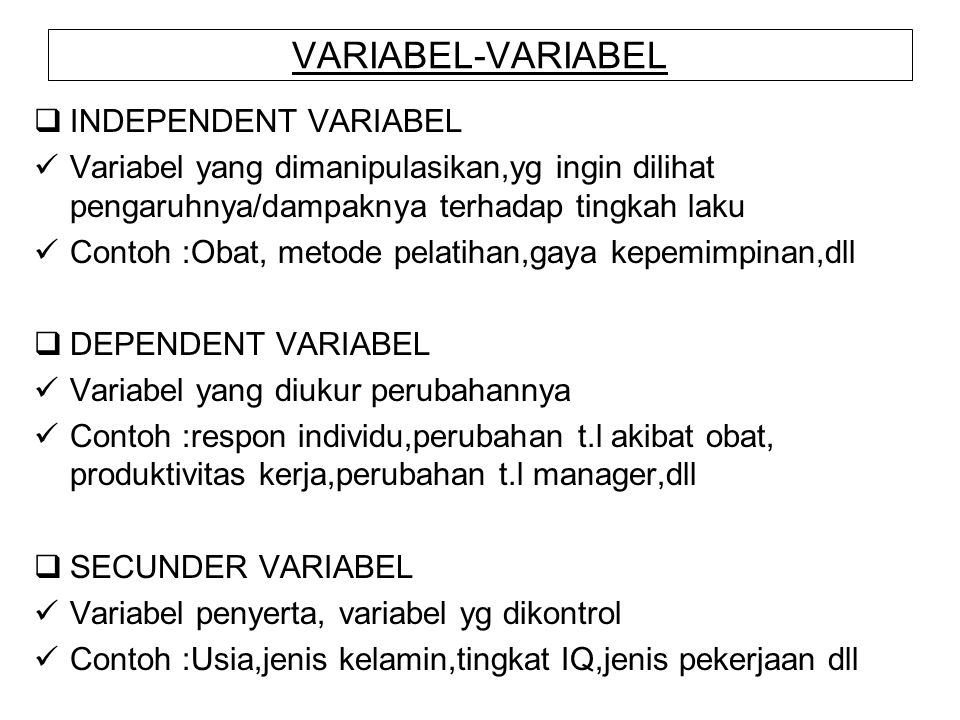 VARIABEL-VARIABEL INDEPENDENT VARIABEL