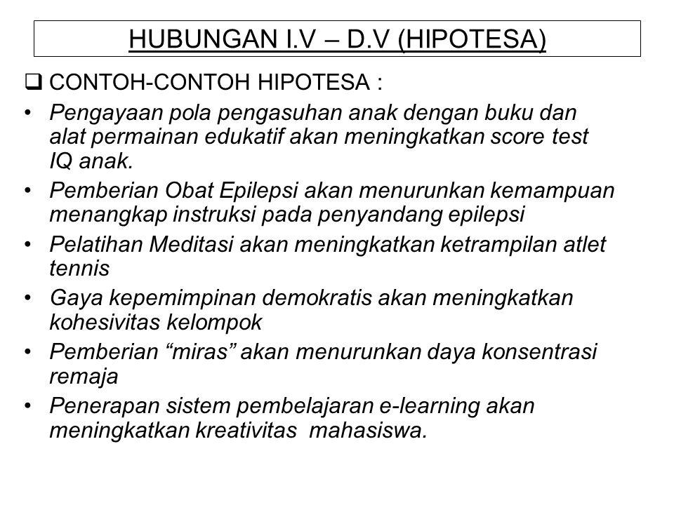 HUBUNGAN I.V – D.V (HIPOTESA)