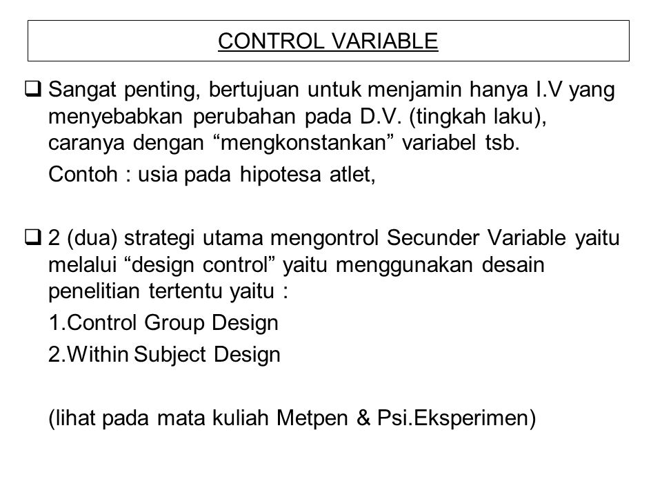 CONTROL VARIABLE