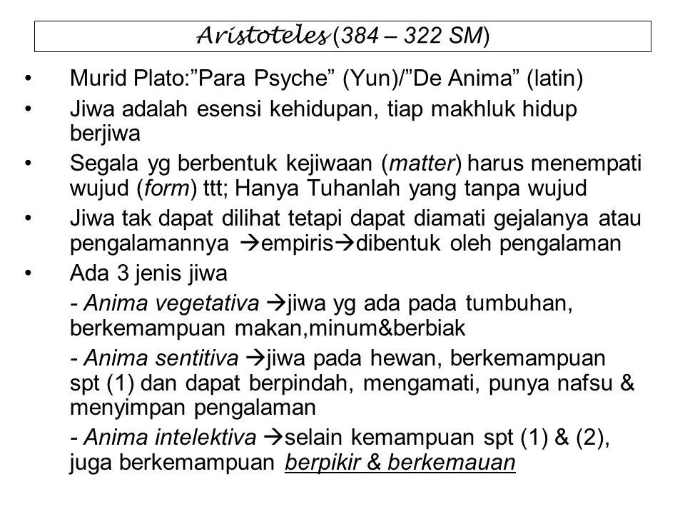 Aristoteles (384 – 322 SM) Murid Plato: Para Psyche (Yun)/ De Anima (latin) Jiwa adalah esensi kehidupan, tiap makhluk hidup berjiwa.
