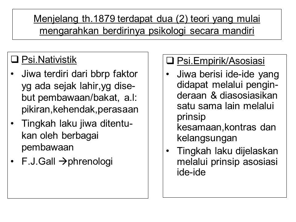 Menjelang th.1879 terdapat dua (2) teori yang mulai mengarahkan berdirinya psikologi secara mandiri