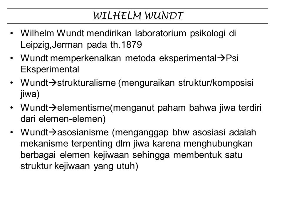 WILHELM WUNDT Wilhelm Wundt mendirikan laboratorium psikologi di Leipzig,Jerman pada th.1879.