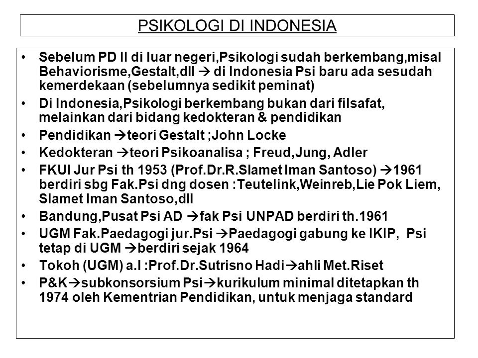 PSIKOLOGI DI INDONESIA