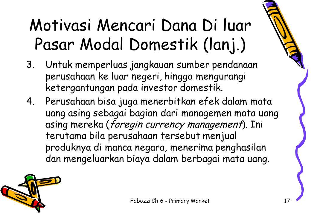 Motivasi Mencari Dana Di luar Pasar Modal Domestik (lanj.)