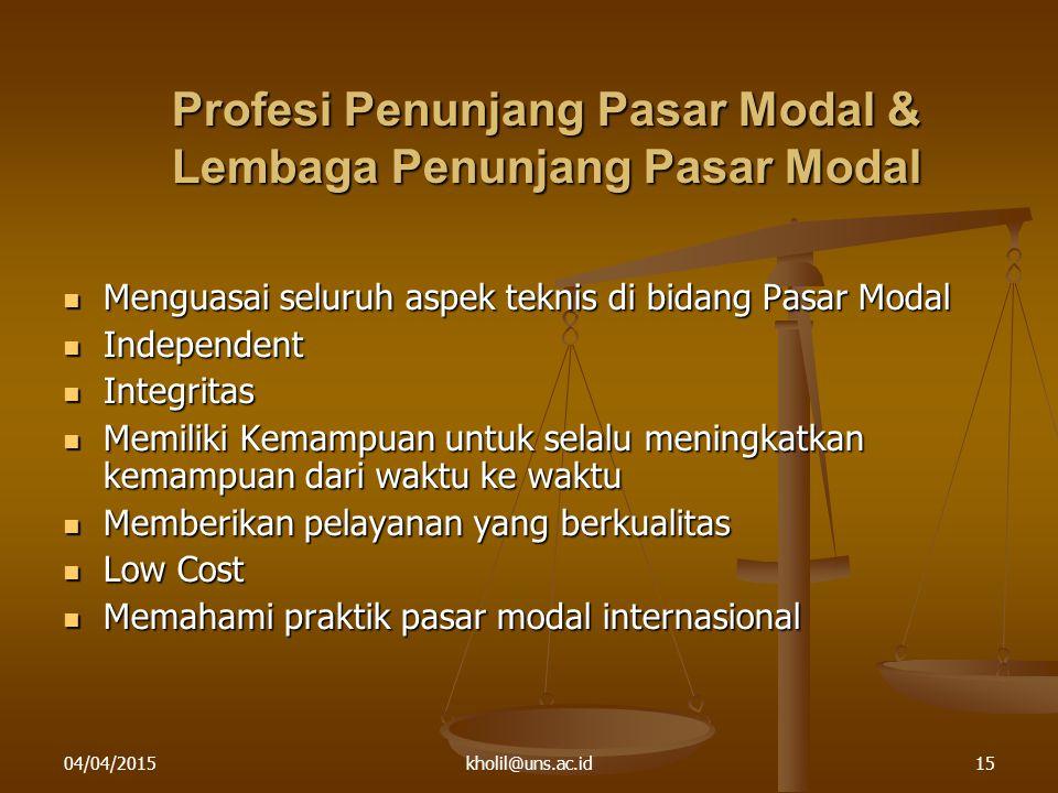 Profesi Penunjang Pasar Modal & Lembaga Penunjang Pasar Modal