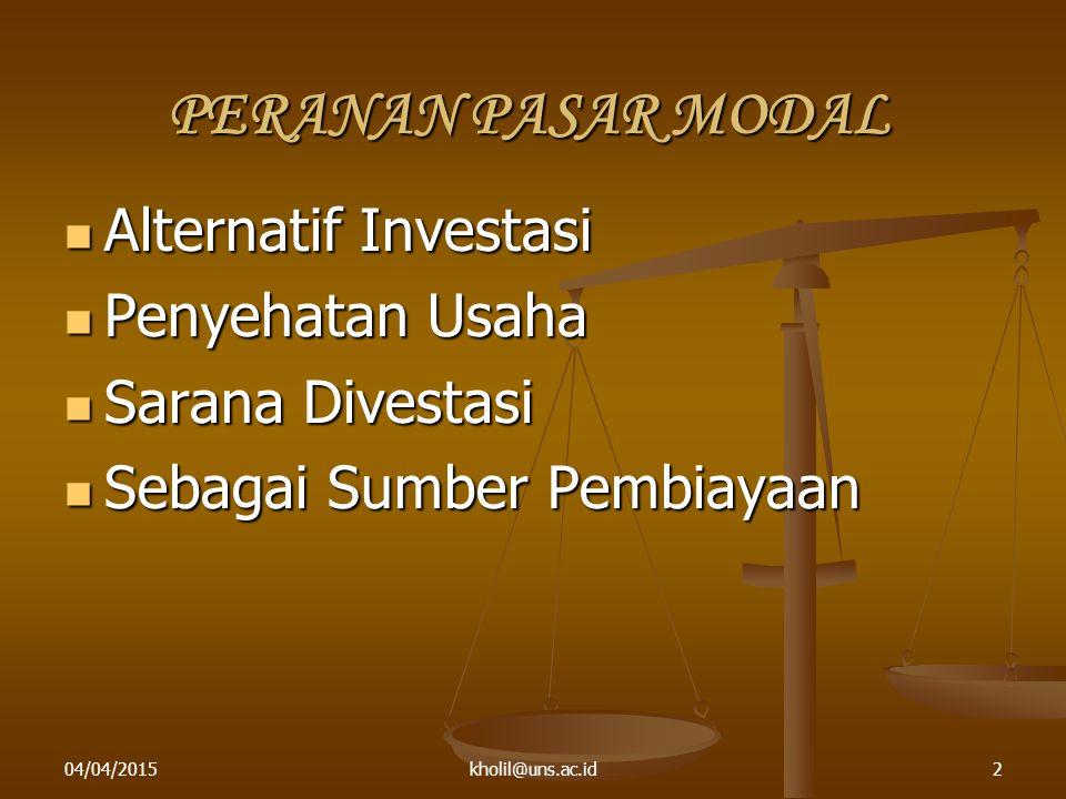PERANAN PASAR MODAL Alternatif Investasi Penyehatan Usaha