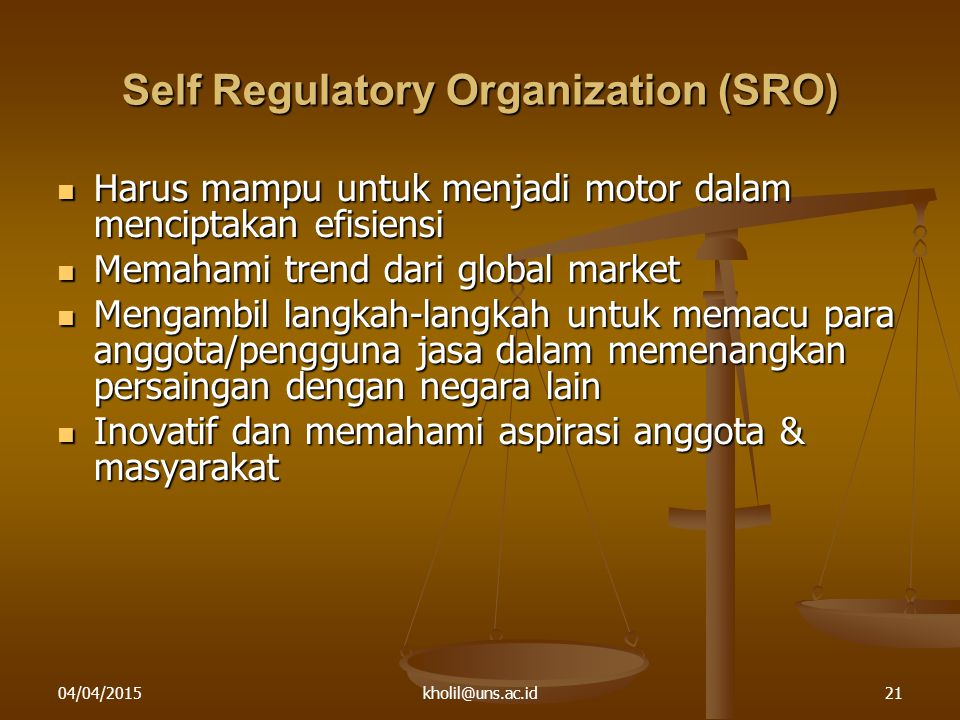Self Regulatory Organization (SRO)
