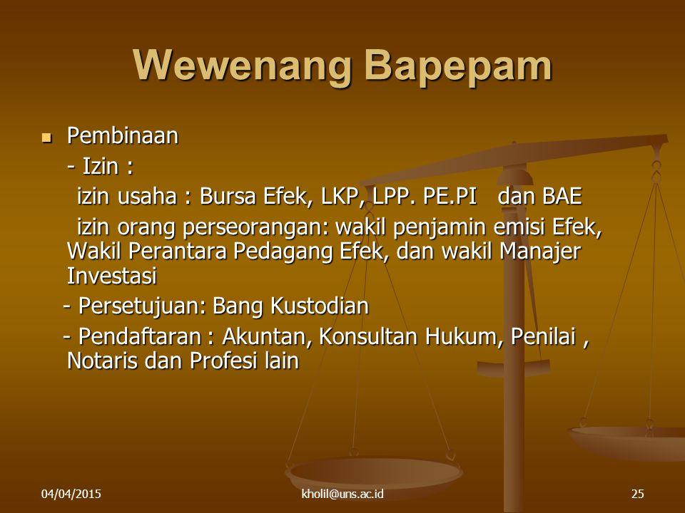 Wewenang Bapepam Pembinaan - Izin :