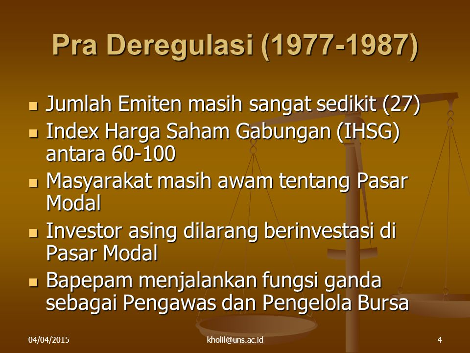 Pra Deregulasi (1977-1987) Jumlah Emiten masih sangat sedikit (27)