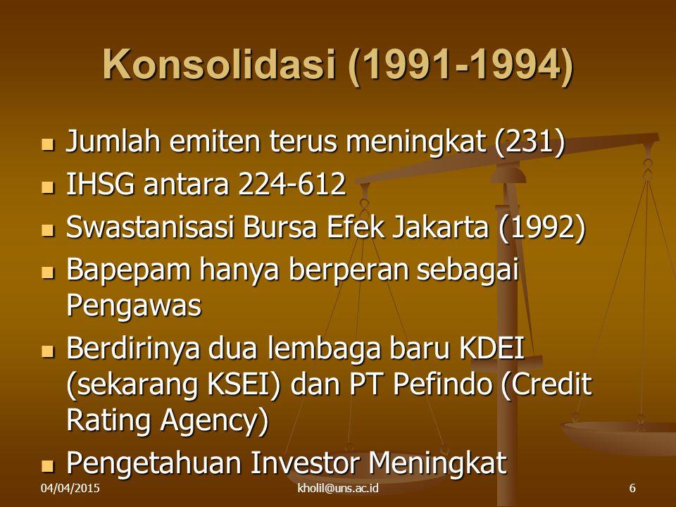 Konsolidasi (1991-1994) Jumlah emiten terus meningkat (231)