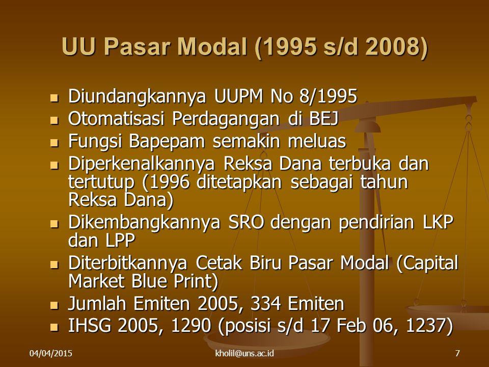 UU Pasar Modal (1995 s/d 2008) Diundangkannya UUPM No 8/1995