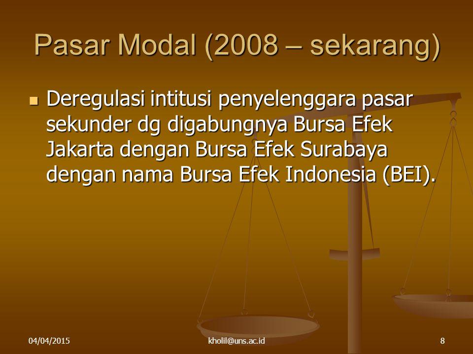 Pasar Modal (2008 – sekarang)