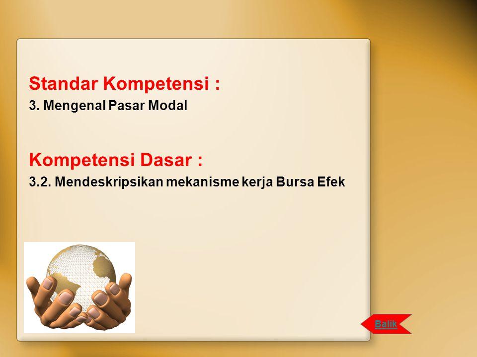 Standar Kompetensi : Kompetensi Dasar : 3. Mengenal Pasar Modal