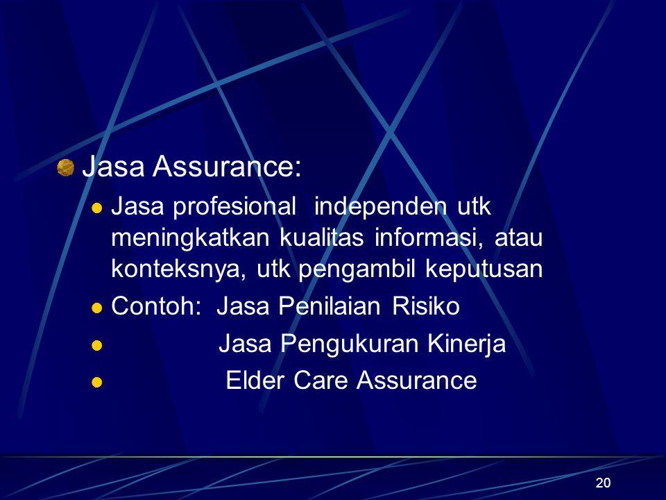 Jasa Assurance: Jasa profesional independen utk meningkatkan kualitas informasi, atau konteksnya, utk pengambil keputusan.