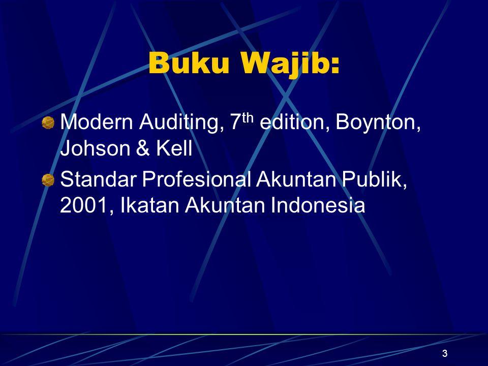 Buku Wajib: Modern Auditing, 7th edition, Boynton, Johson & Kell