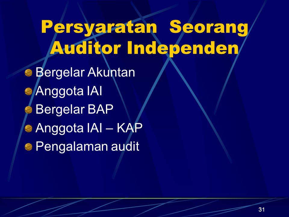Persyaratan Seorang Auditor Independen