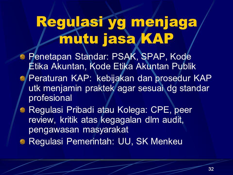 Regulasi yg menjaga mutu jasa KAP
