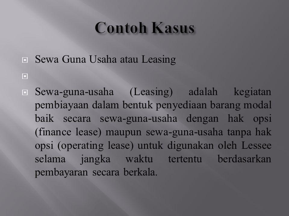 Contoh Kasus Sewa Guna Usaha atau Leasing