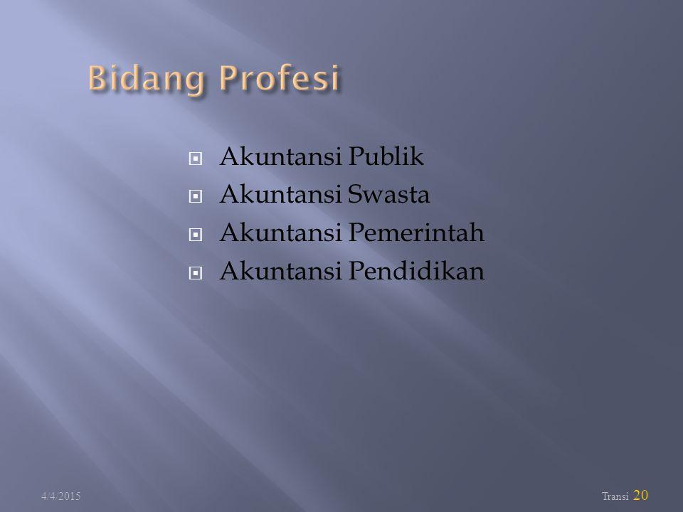 Bidang Profesi Akuntansi Publik Akuntansi Swasta Akuntansi Pemerintah