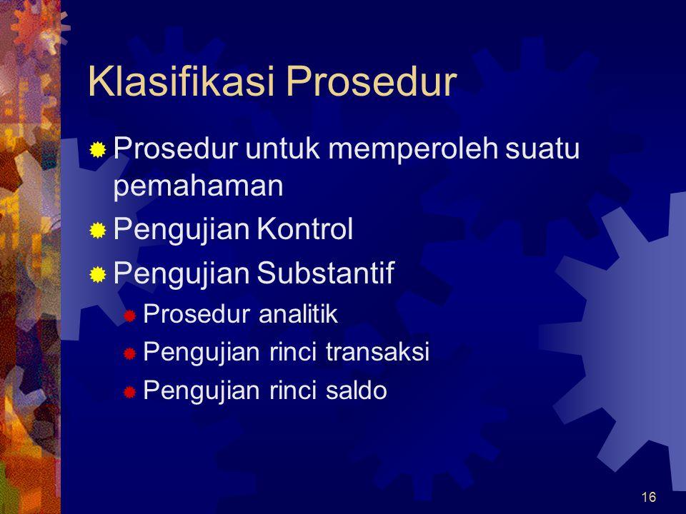 Klasifikasi Prosedur Prosedur untuk memperoleh suatu pemahaman