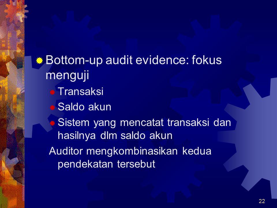 Bottom-up audit evidence: fokus menguji