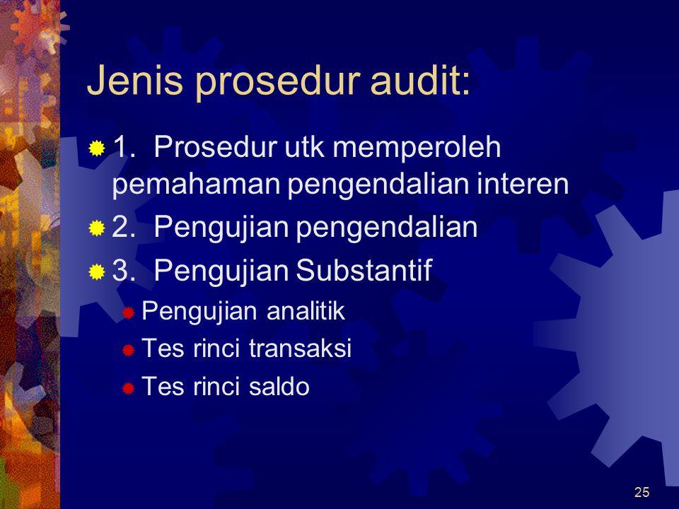 Jenis prosedur audit: 1. Prosedur utk memperoleh pemahaman pengendalian interen. 2. Pengujian pengendalian.