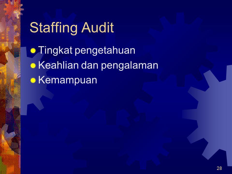 Staffing Audit Tingkat pengetahuan Keahlian dan pengalaman Kemampuan