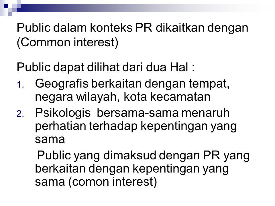 Public dalam konteks PR dikaitkan dengan (Common interest)