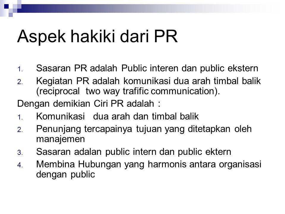 Aspek hakiki dari PR Sasaran PR adalah Public interen dan public ekstern.