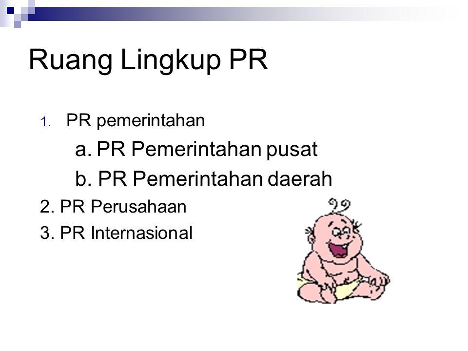 Ruang Lingkup PR a. PR Pemerintahan pusat b. PR Pemerintahan daerah