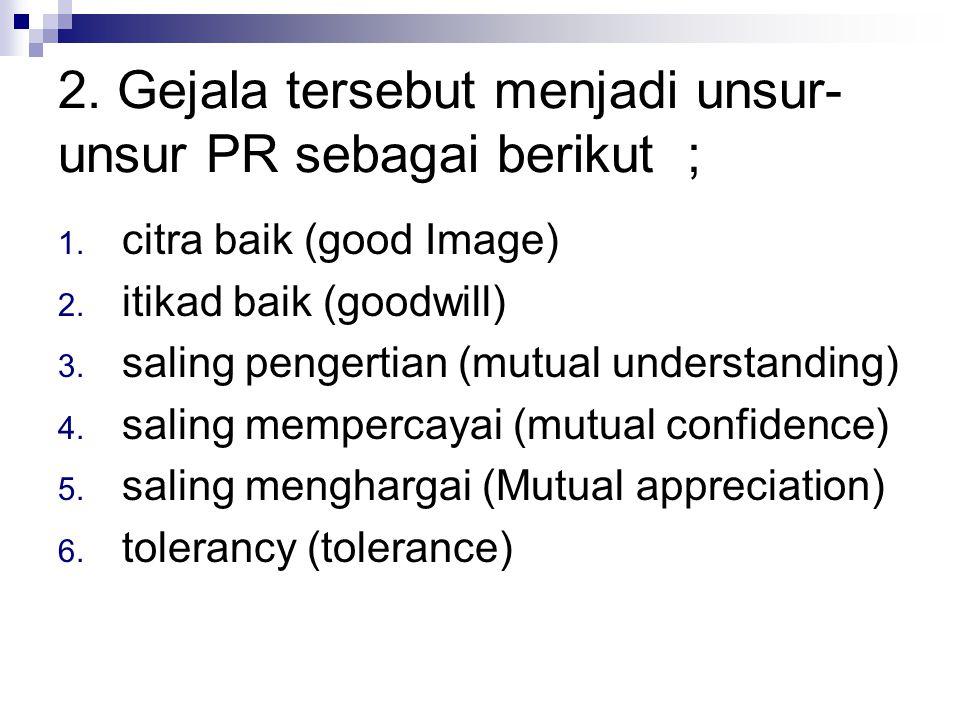 2. Gejala tersebut menjadi unsur-unsur PR sebagai berikut ;